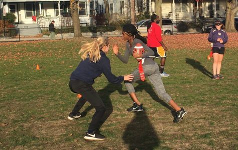 Juniors Maya Shaughnessy and Juliette Estime practice defense drills during Powderpuff practice at Cypress field.
