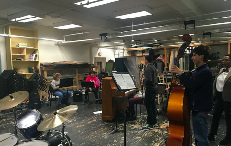 Members of band teacher Carolyn Castellano's jazz band preparatory class practice in the White Box. Castellano said that the musicians in the