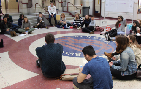 Students sit in a circle to discuss cultural appropriation during the F-Block BLACC teach-in.