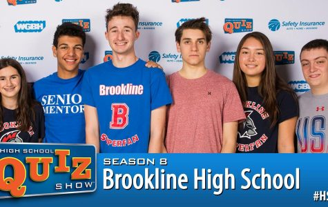Left to right: Sophmore Emma Kahn, Senior Amir Siraj, Senior Louis Sokolow, Senior Louie Goldsmith, sophomore Margaux Kanamori, and Senior Micah Greenberg make up the high school's Quiz Bowl Club that has qualified to compete on High School Quiz Show on WGBH in January
