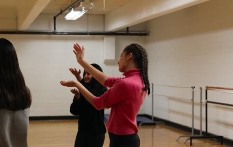 Sophomore Joia Putnoi and junior Megha Shrivastava learn dance moves for the upcoming musical, Grease. The cast of actors, singers and dancers are already hard at work during rehearsals for the show. ANI MATHISON/SAGAMORE STAFF