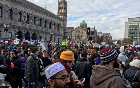 Crowds gather at Copley Square protest against Muslim immigration ban