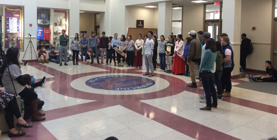 Members of the Chinese exchange trip from last year and this year congregated in the atrium to both reflect on past experiences and to look to the future. Leon Yang / Sagamore Staff.