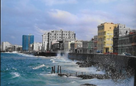 This photo, taken from a sidewalk in Havana, Cuba, shows a view of its rocky shoreline.