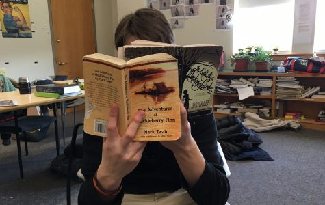 A student enjoys two of the core books
