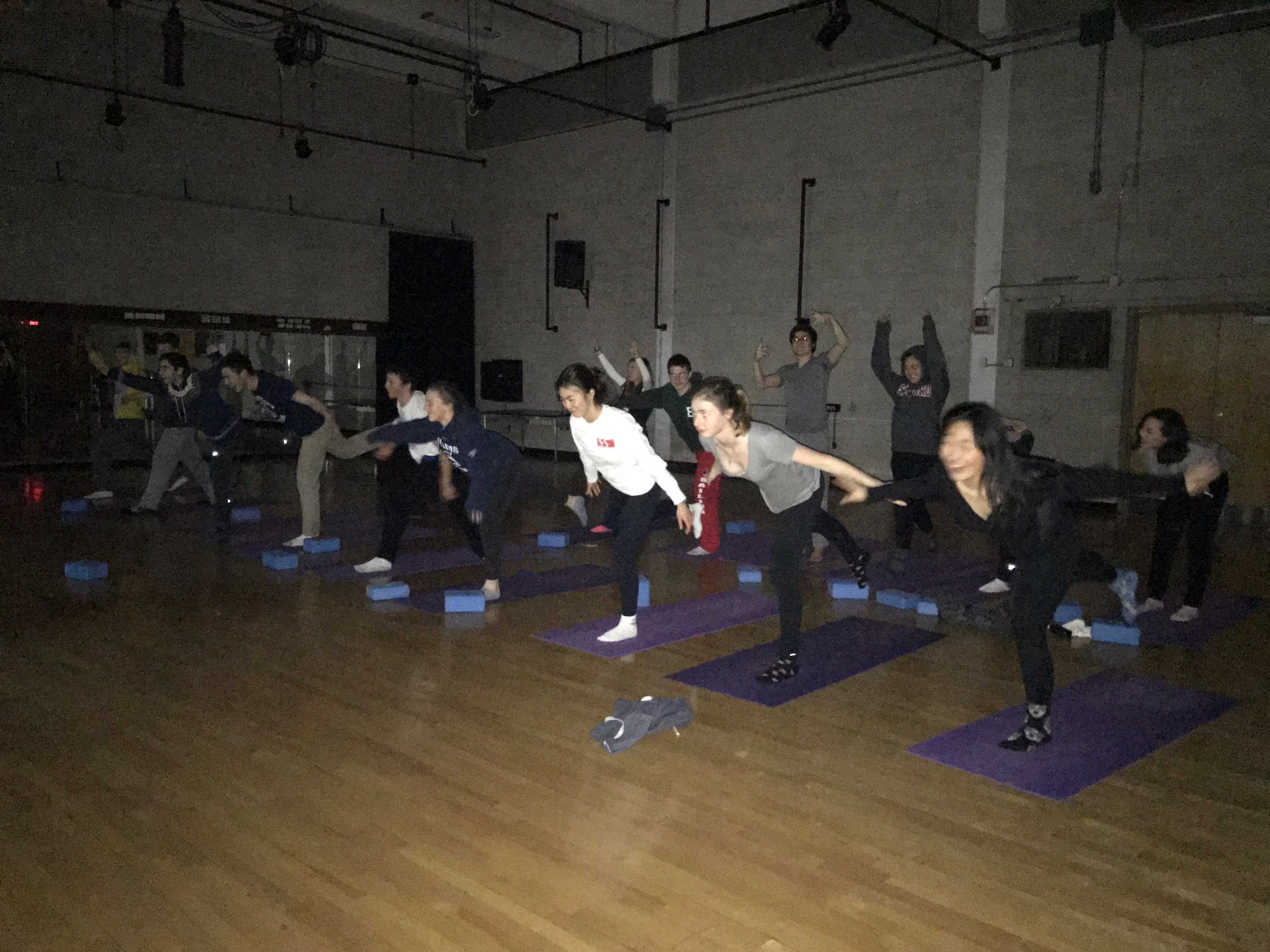 The ski team does yoga to relax and work out. Sophomore Emi Tsukada said that yoga helps team spirit as well as physical health