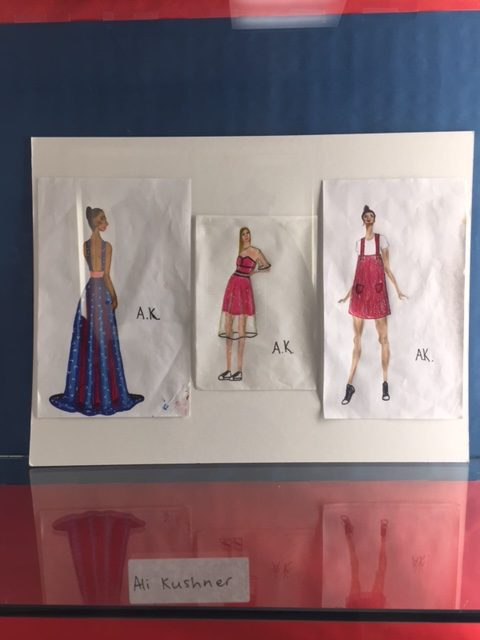 From left to right, a vibrant printed gown, a strapless fuchsia dress with organza overlay and a brocade romper, sketched by sophomore Alison Kushner, add to her fashion design collection.