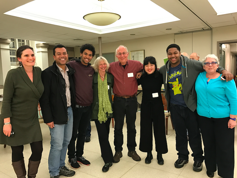 Members of BRJE at one of its weekly meetings. Members include junior Anthony Saunders (second from right) and retired SWS teacher Abby Erdmann (fourth from left).