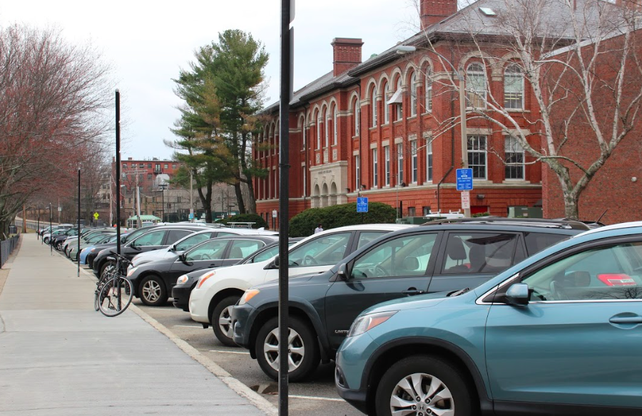Due to the minimal parking spaces around the school, there is no parking for students. Teachers are allowed to park in spaces on streets surrounding the high school.