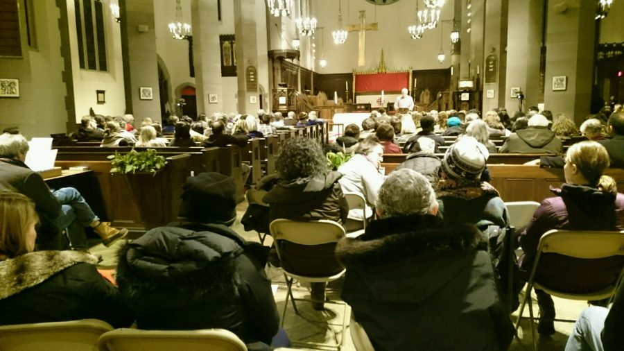 Members of the Brookline community gathered at All Saints Parish on Wednesday to discuss issues facing the Brookline Public Schools.