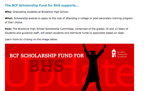 The high school awards many scholarships via the BHS Scholarship Fund (website pictured above) to seniors with unmet financial need. According to Dean of Students, grades 10 and 12, Scott Butchart around 1/3 of the senior class applied for scholarships.