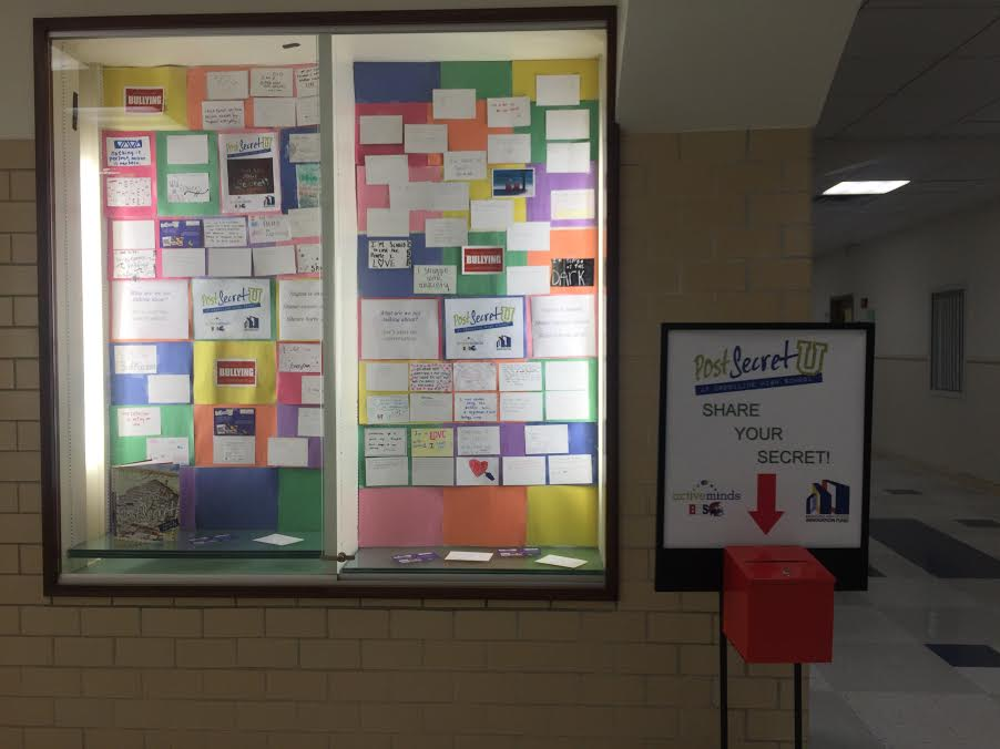 The Post-Secret U display, which was installed on May 17 outside the MLK room, features student art about a secret they have never shared. ANI MATHISON/SAGAMORE STAFF