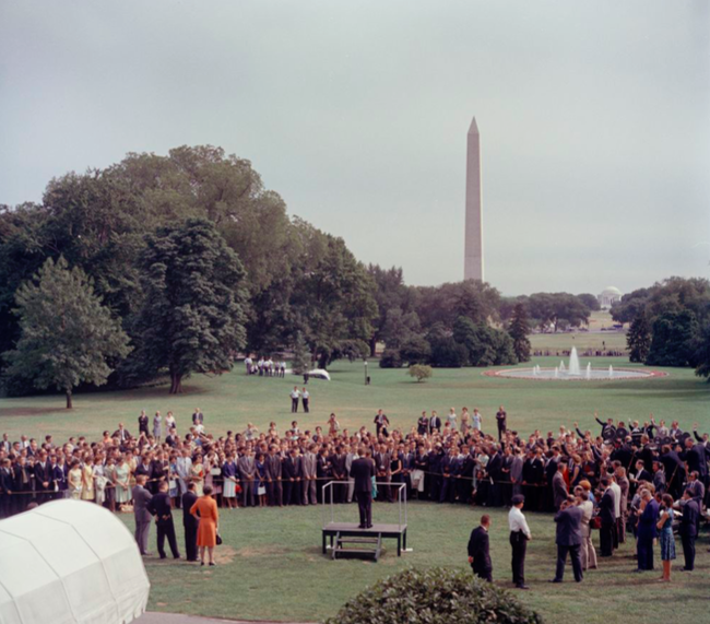 Kennedy+made+a+speech+to+a+group+of+Peace+Corps+trainees+near+the+Washington+Monument+in+1962.+PHOTO+FROM+PUBLIC+DOMAIN