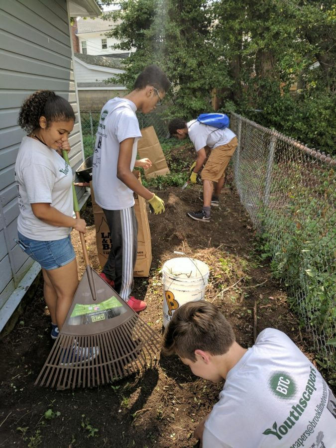 Over the summer, students in the Youthscaper program did outdoor jobs for Brookline residents.
