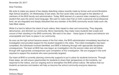 Above is a picture of the email Headmaster Anthony Meyer and Superintendent Andrew Bott sent out to faculty and high school families this evening. The email addresses the events and says that the faculty has launched an investigation into the issue and students involved.