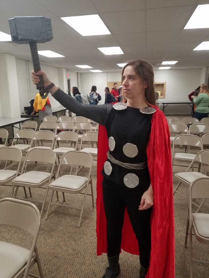 World Language teacher Dominique Gonyer dressed as Thor