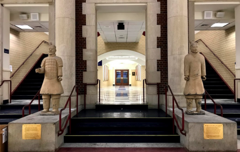 The two Terracotta Warrior statues in the atrium were purchased by former headmaster Dr. Bob Weintraub and science teacher Steve Lantos during a China Exchange trip. They represent the friendship between the high school and its sister school, the Gao Xin School.