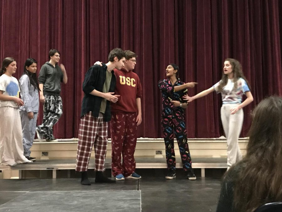 The+Needs+Improvment+troupe+performs+creative+skits+in+their+pajamas+on+Jan.+11+in+the+Roberts-Dubbs+Auditorium.+Improv+reminds+us+of+the+endless+possibilities+of+imagination.