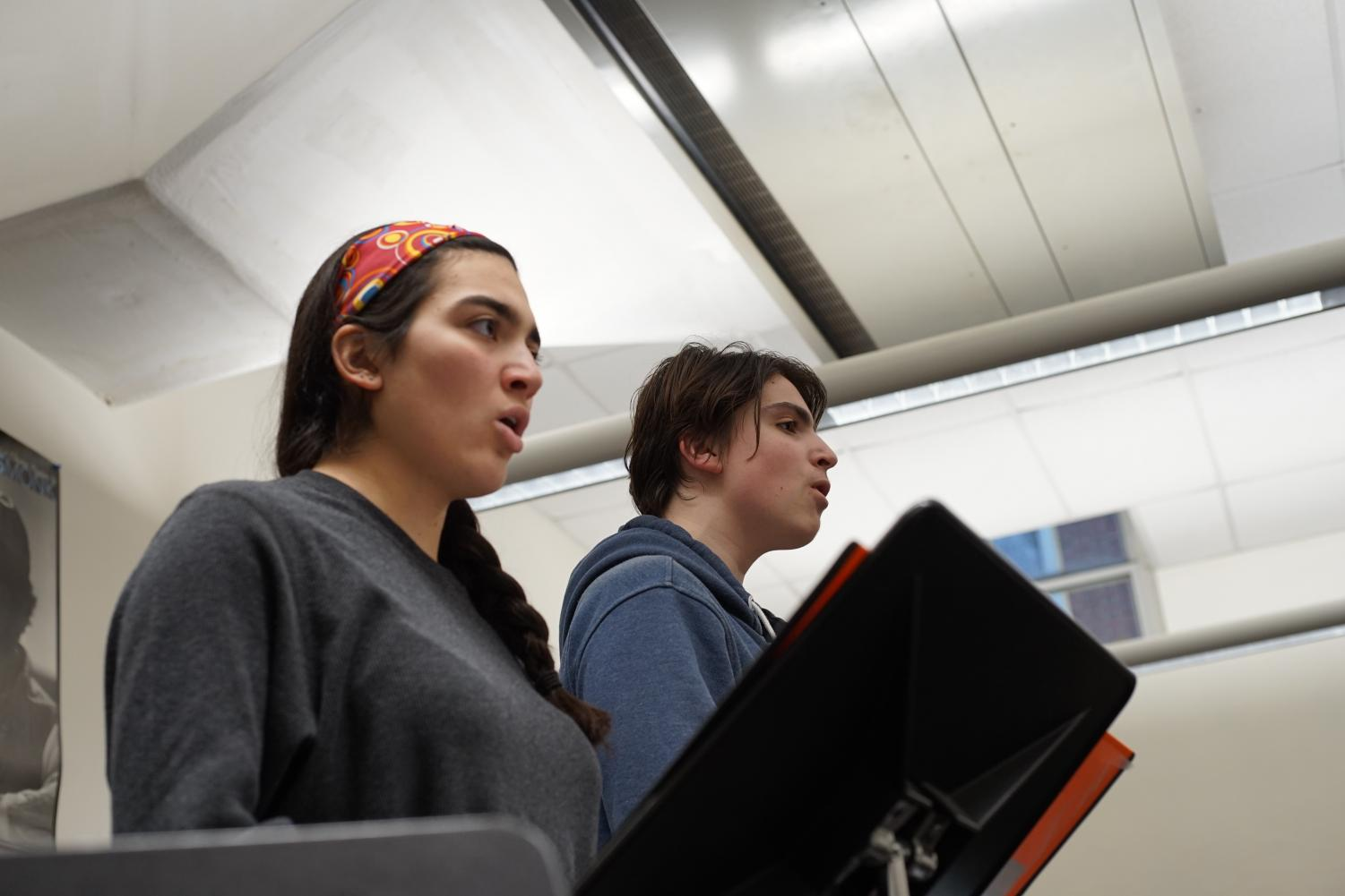 Juniors Ranna Shahbazi and Zach Lowenstein rehearse for Pippin. This year, the musical is utilizing specialized dancers and singers to supplement the production.