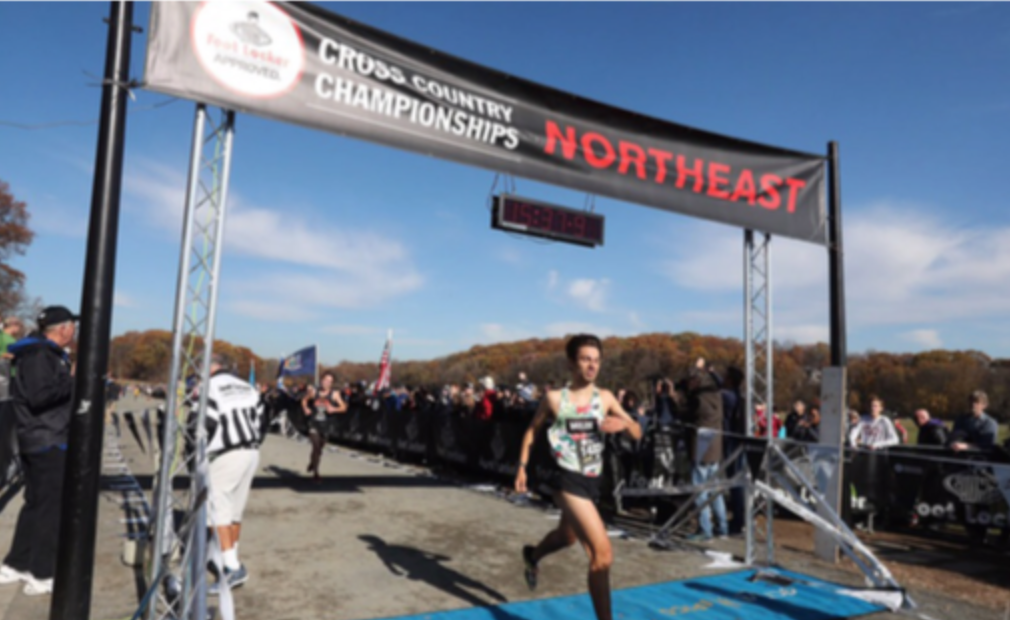 Lucas Aramburu crosses the Footlocker Northeast Championship finish line, where he placed 3rd and earned a spot at the Footlocker Cross Country Nationals.