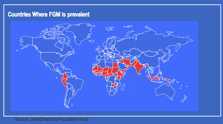 Map+shows+prevalence+of+FGM+by+country+throughout+the+world.