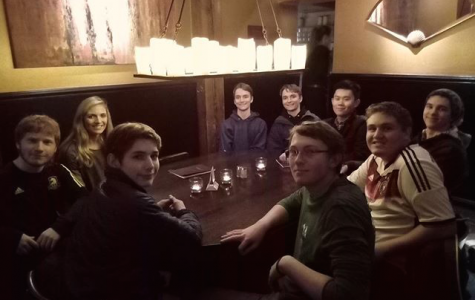 Students on the Model UN trip relax after their time at the Model United Nations conference in Berlin.