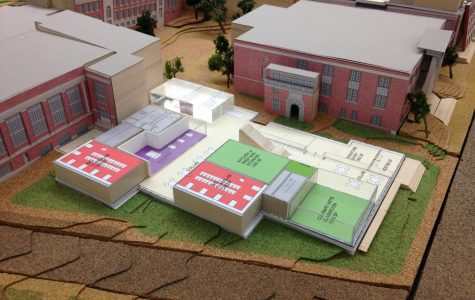 William Rawn Associates set up a scale model of the school in the MLK room on Dec. 15. The image shows the first floor plan of the renovated Tappan Street wing.