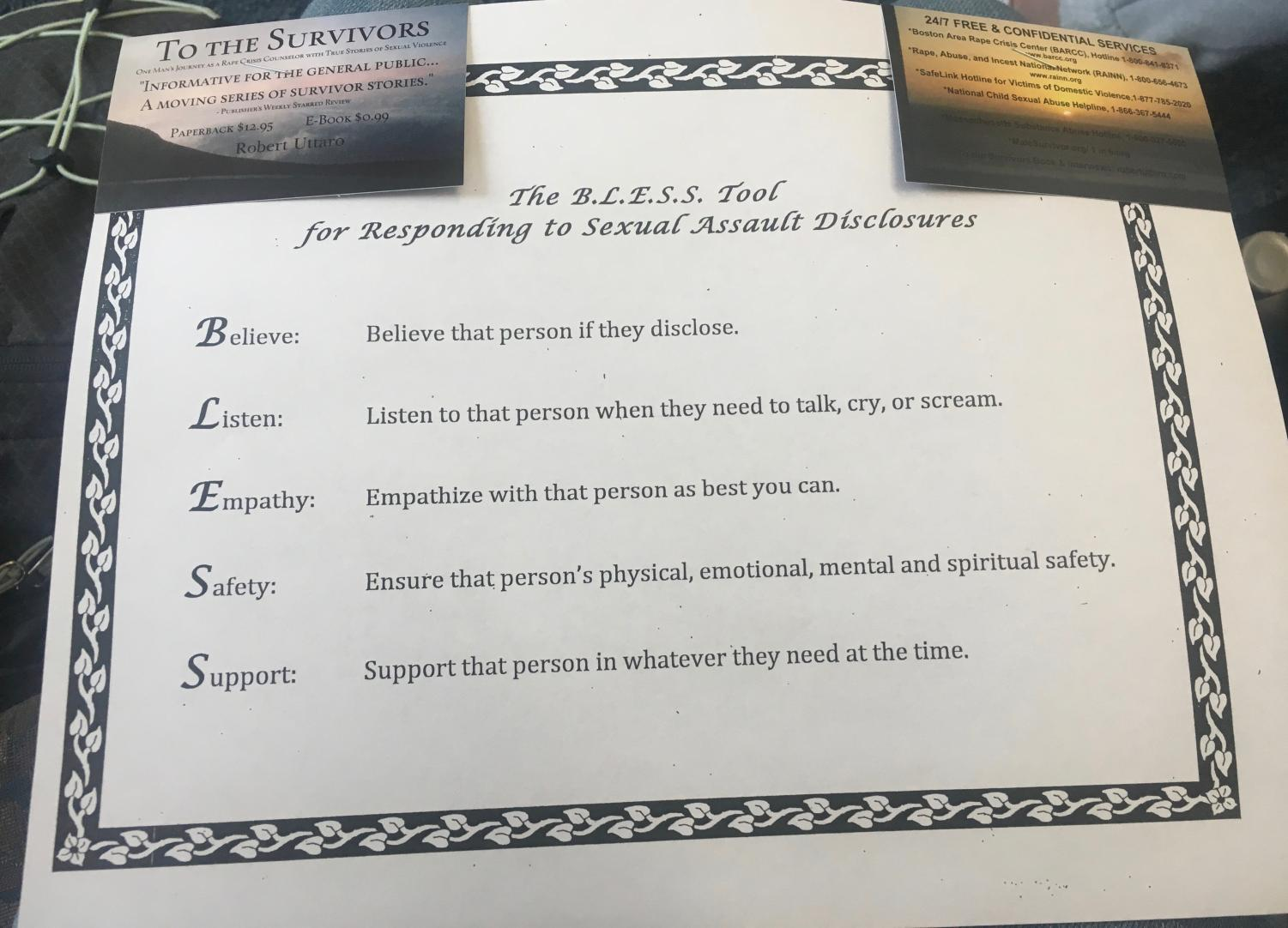 Rape crisis counselor and author Robert Uttaro distributed this handout to students during his presentation to aid students who may come in contact with a sexual assault victim. MURIEL STATMAN/SAGAMORE STAFF