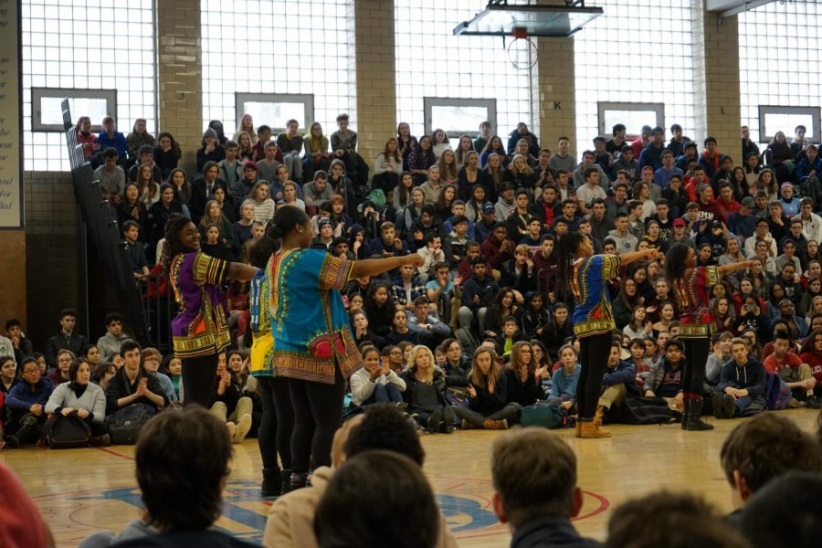 The new step team, Ladies of Excellence, performs in the Schluntz Gymnasium during the all-school assembly. NICK EDDINGER/SAGAMORE STAFF