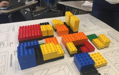 AP Government students used legos to build scale models of a city block as part of the UrbanPlan project, which they recently completed.