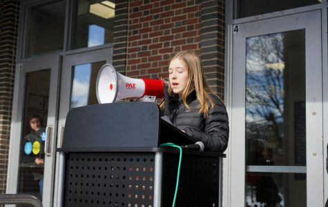 Freshman Charlotte Vincent was the first student speaker at the high school's National School Walkout.