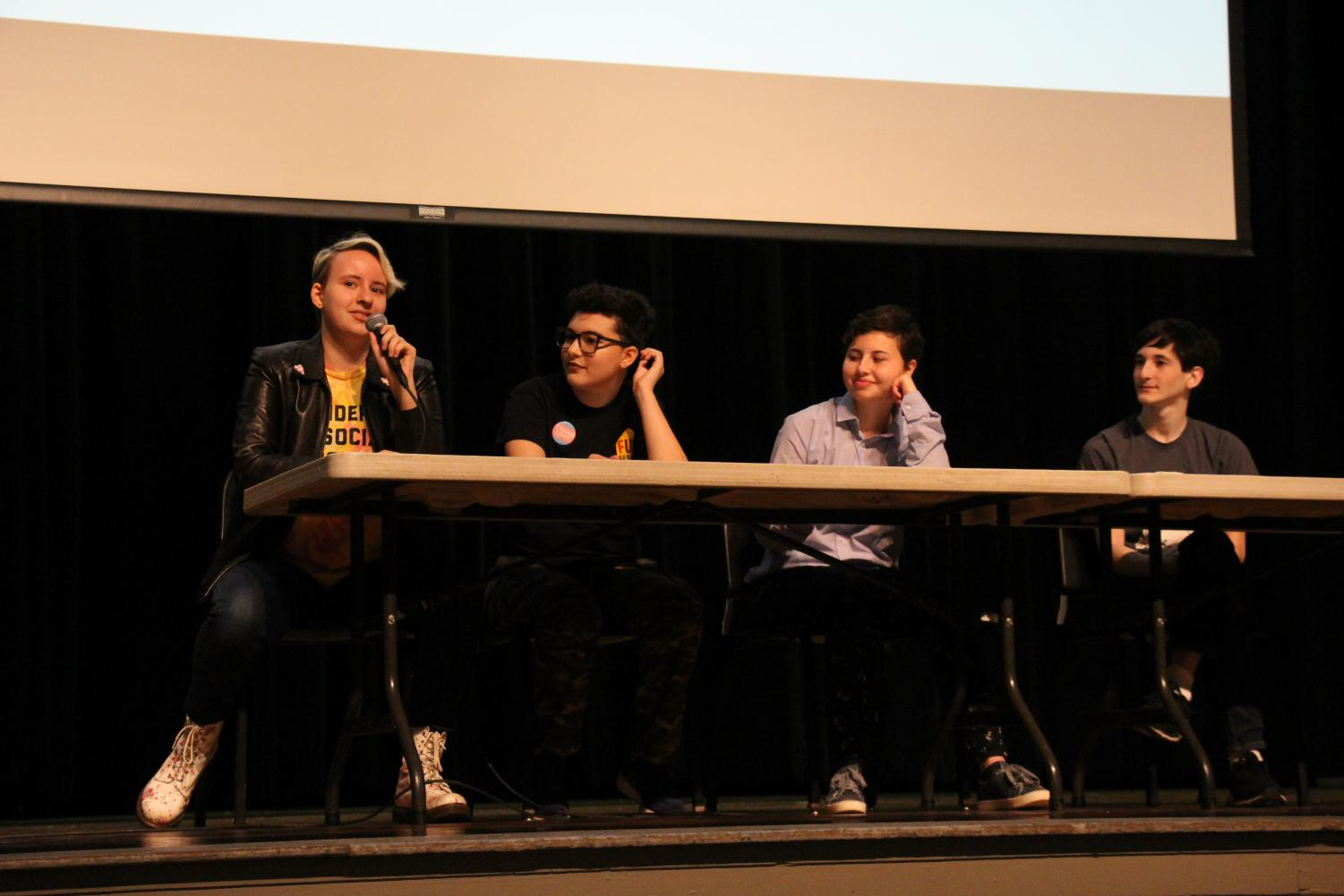 From left to right, panelists freshmen Bird Kindall, Alex Bunis and Katherine/Steve O'Connor and senior Yoni Segal.