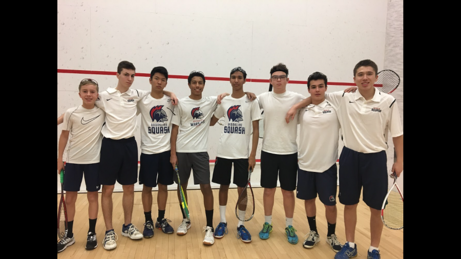 The+boys+junior+varsity+squash+team+poses+for+a+photo+after+a+5-2+win+over+the+Park+School+of+Baltimore+at+the+2018+U.S.+High+School+Team+Squash+Championship.+PHOTO+CONTRIBUTED+BY+STEVE+LANTOS
