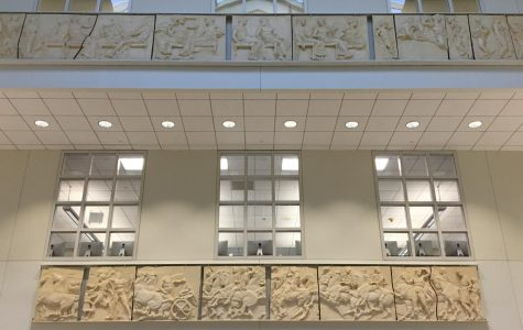 Replicas of the Elgin Marbles sit above the atrium at the high school. The carvings were initially at the old Lincoln School but were then restored and brought to the high school.