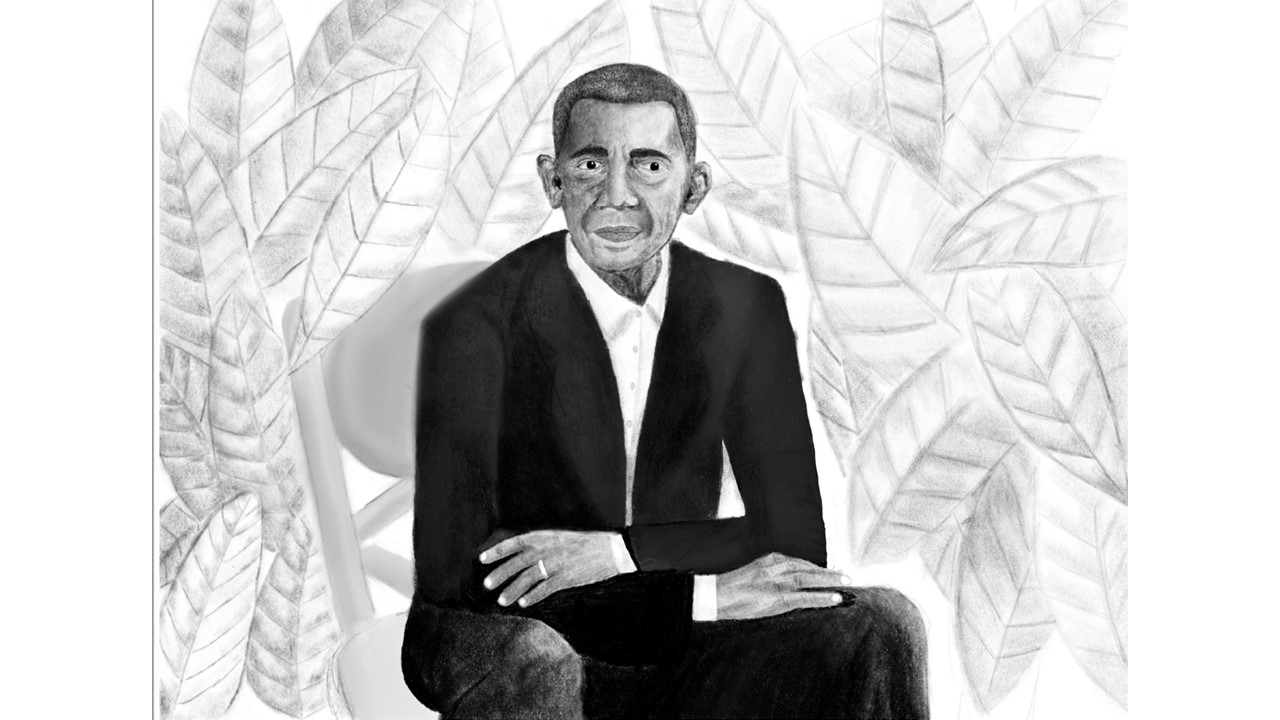 Local middle schooler Abby Gonzalez who attends Beaver Country Day, puts her own spin on the official portraits of Barack and Michelle Obama done by Kehinde Wiley and and Amy Sherald, respectively.