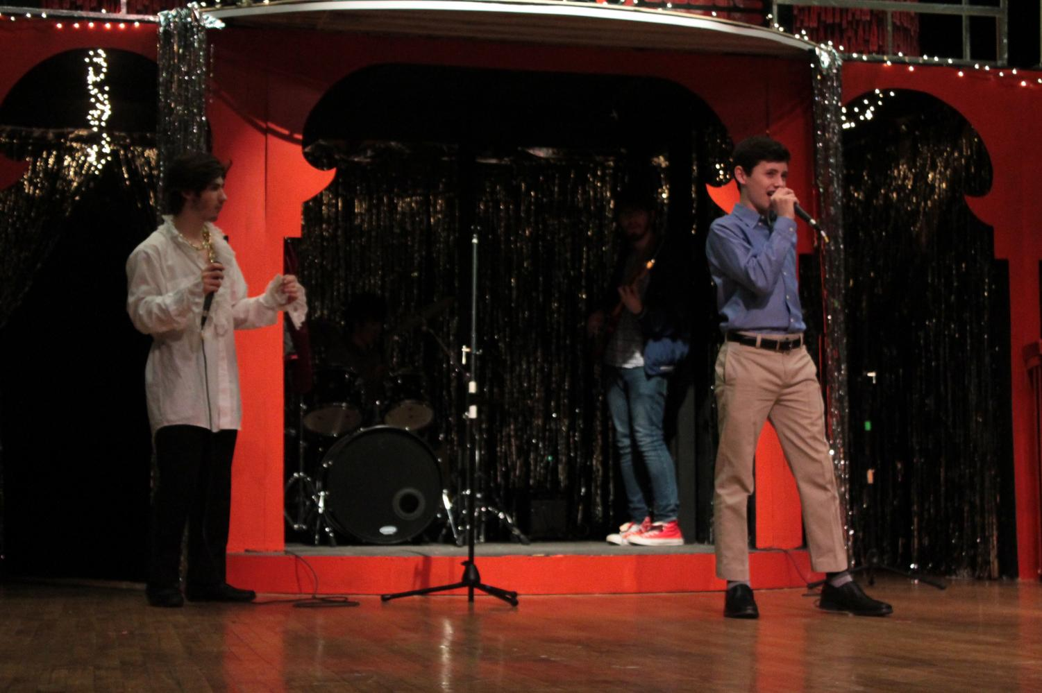 Sophomore Bradley Wolf performs a song in this year's Shakespeare play,