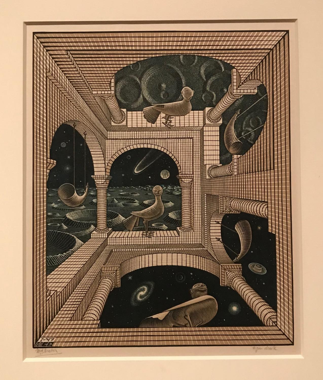 In his artwork, Escher plays with distortion to defy dimensions.