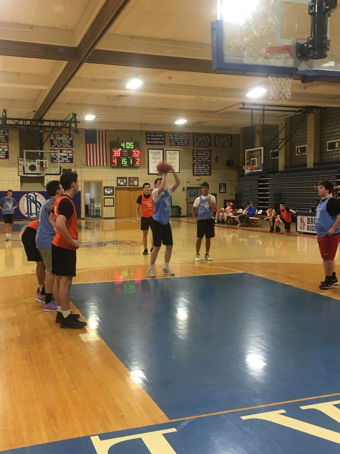 Senior Peter Montgomery takes a free throw for the University of North Carolina in the 2018 Brookline Recreational Basketball Final. UNC played against University of Florida in the final.
