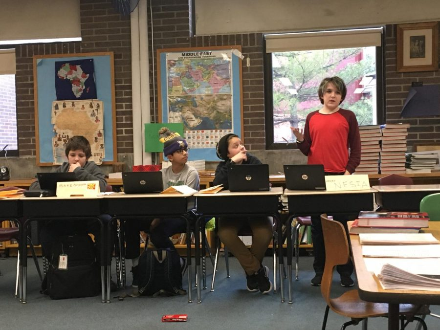 Pierce School sixth grader Finn McMillan shares his perspectives on international issues with the fellow members of the middle school Model United Nations Club.