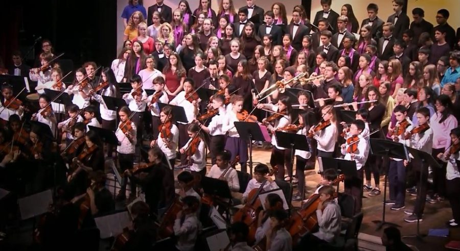 The choruses of all the Brookline Public Schools perform Let Us Rise As a People. The song was composed by Brookline parent Jim Papoulis with input from students.