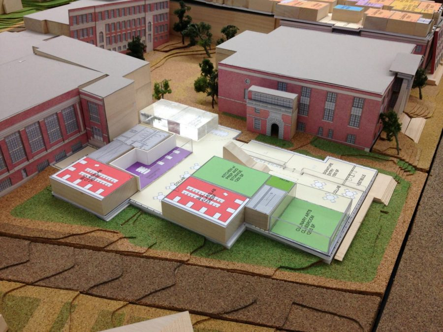 The override would help the town renovate the current high school building and expand to 111 Cyprus Street, as pictured above in a model of the expansion.