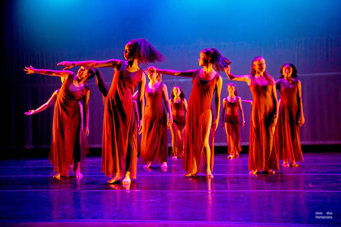 Students in Christien Polos's Intermediate Dance class perform at Progressions.