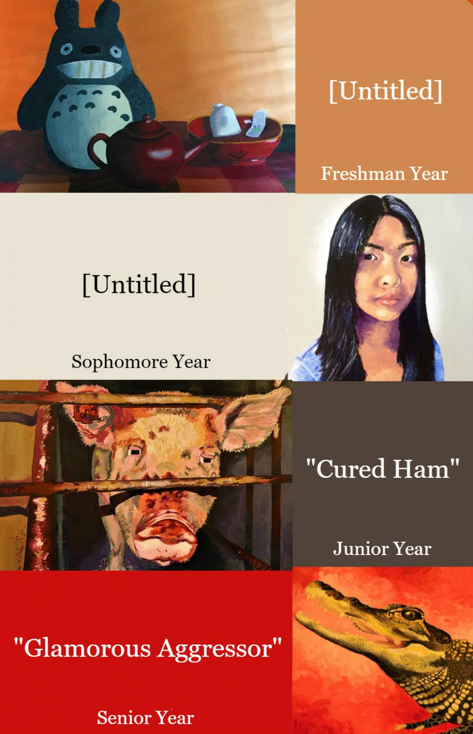 Artist Emily Lew '18 showcases her work from freshman to senior year. Lew's paintings are inspired by a passion for animal activism, as evident in