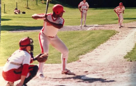 Malcolm Cawthorne '88 awaits the pitch as he bats in the spring baseball season of 1988. Cawthorne was a tri-season athlete, playing year-round for baseball, basketball and football.