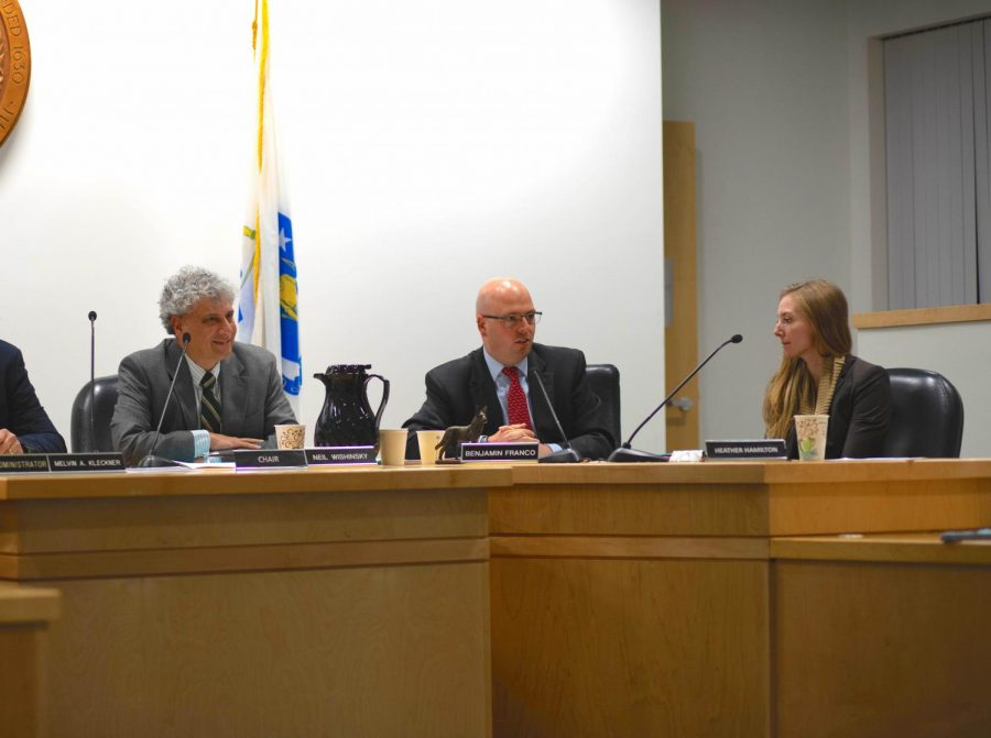 Select+Board+chair+Neil+Wishinsky+and+members+Benjamin+Franco+and+Heather+Hamilton+discuss+policies+and+projects+at+a+Select+Board+meeting.