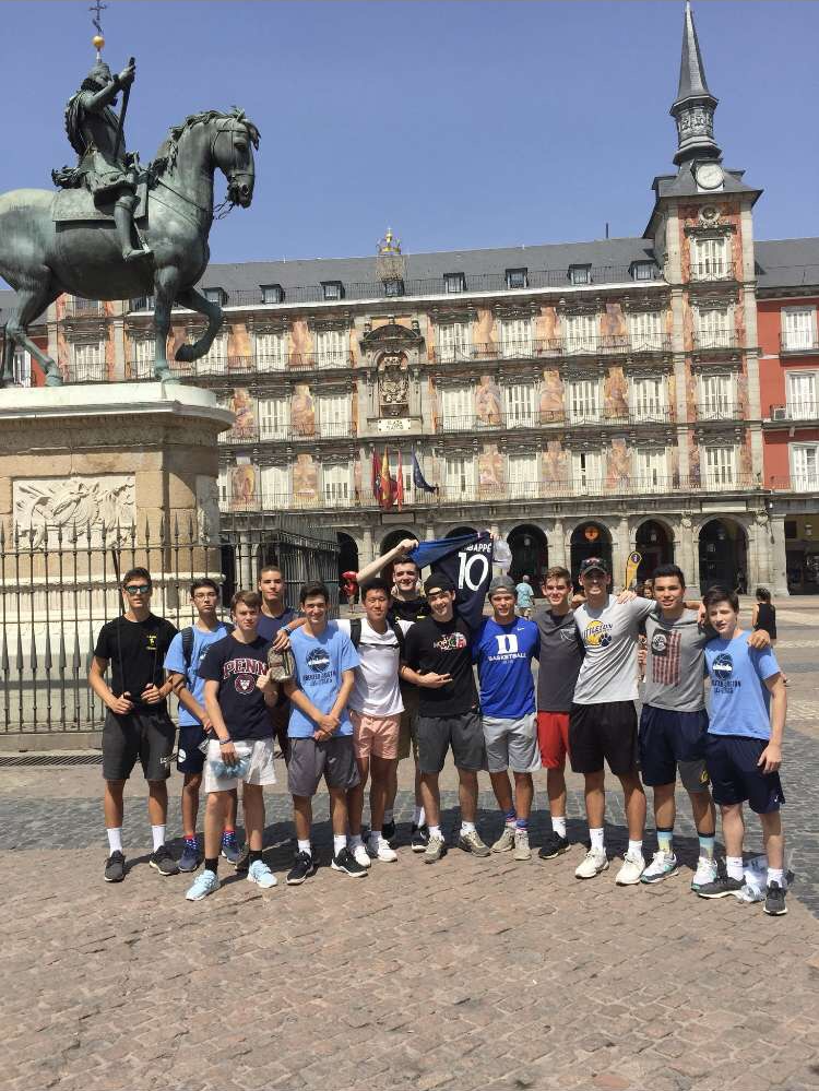 The Greater Boston All-Stars pose together while in Europe for a basketball tournament.