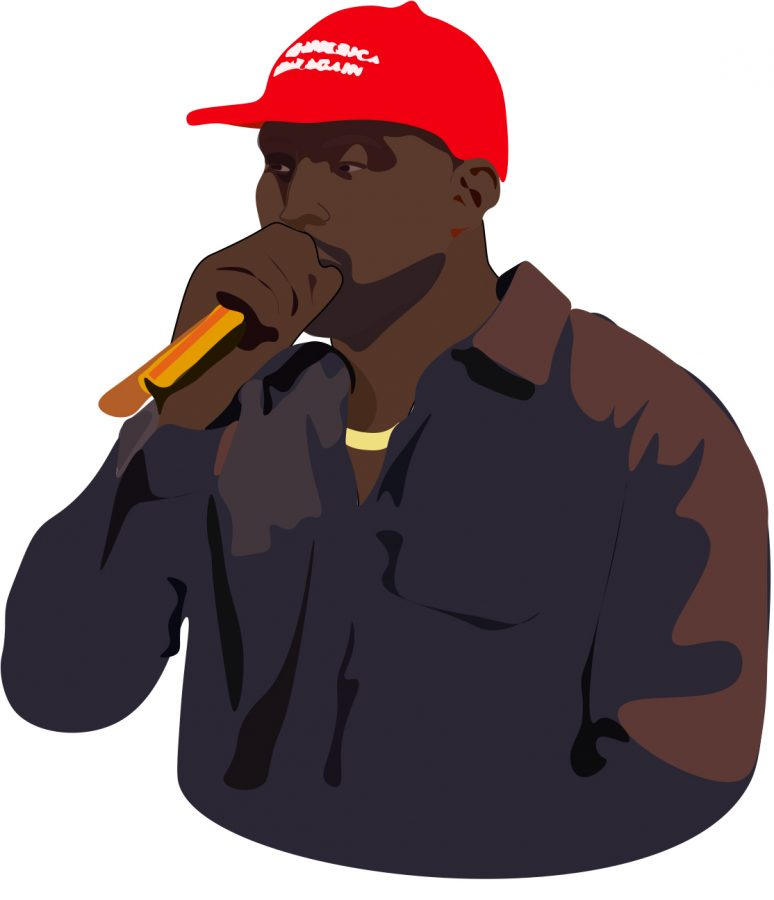 Musician+Kanye+West+was+an+outspoken+supporter+of+President+Donald+Trump+until+he+changed+his+views+on+twitter+Oct.+30%2C+2018.+