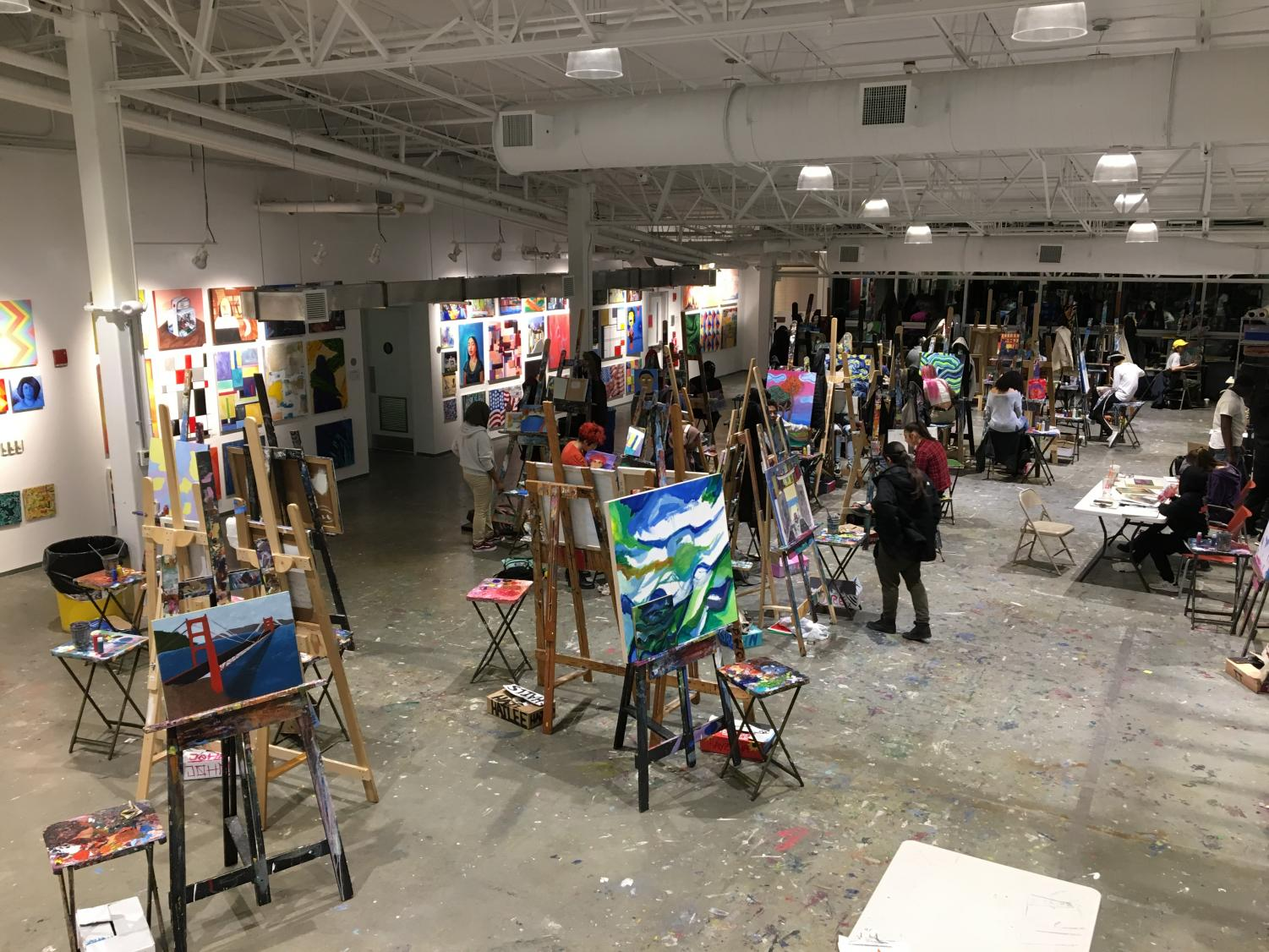 The Artists for Humanity EpiCenter in Boston employs teenage artists to make art using several different types of media such as painting, digital design, photography and sketching.