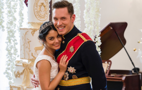 Stacy DeNovo (Vanessa Hudgens) embraces Prince Edward (Sam Palladio) during a scene in the seasonal Rom-Com, The Princess Switch.