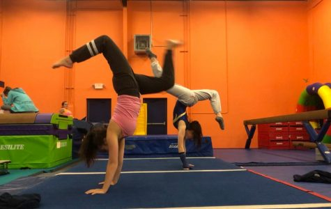Sophmores Lexie Engelman (left) and Leila Allen (right) train at the Broderick Gymnastics Academy. Due to the variety of events that gymnasts participate in, they must master many aspects of the sport.